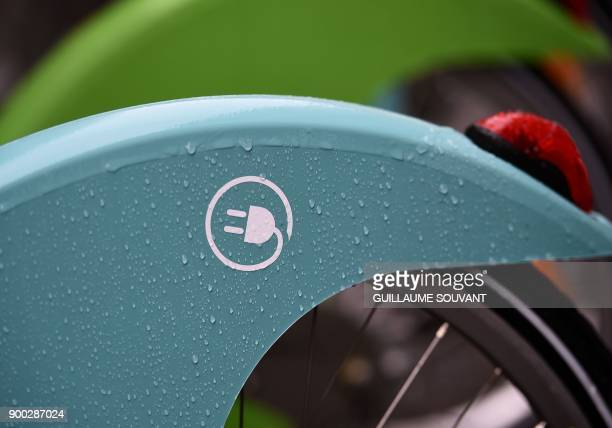 A picture showing the symbol of the blue coloured electricmodel of Paris' new Velib bicyclesharing service operated by FrancoSpanish consortium...