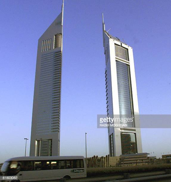 Picture shows 14 April 2000 Dubai's newest landmark the Twin Towers The towers include the third tallest hotel in the world at 305 meters and a...