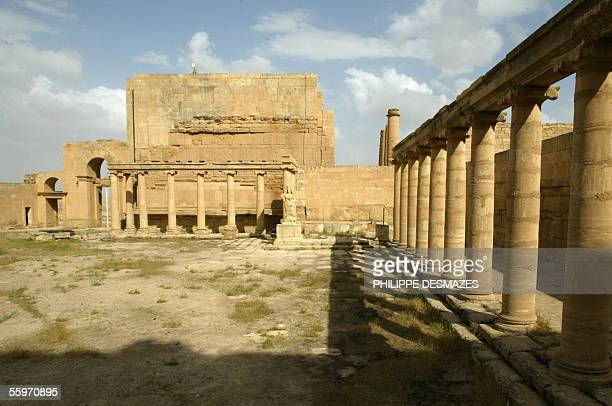 Picture shows 21 April 2003 the court of the royal palace in the ancient city of Hatra in the desert area in northwest Iraq between Mosul and...
