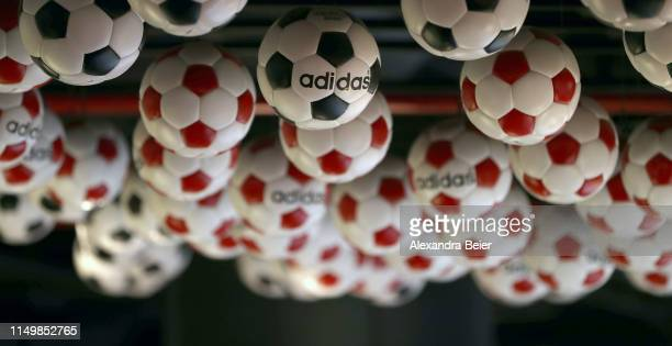 Picture shows a adidas football balls presented at the FC Bayern Erlebniswelt museum on May 10, 2019 in Munich, Germany.