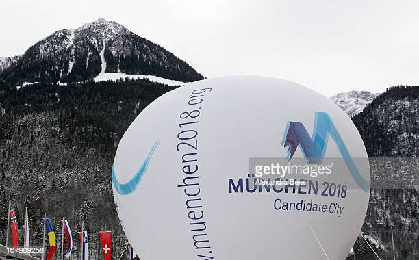 Picture shows a balloon with the Munich 2018 candidate logo for the Olympic Winter Games in front of the mountains on January 6 2011 in Koenigssee...
