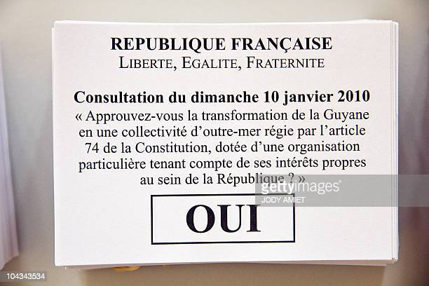 A picture shows a ballot 'Yes' in the polling station of Cayenne on the French South American territory of Guiana on January 10 during the referendum...