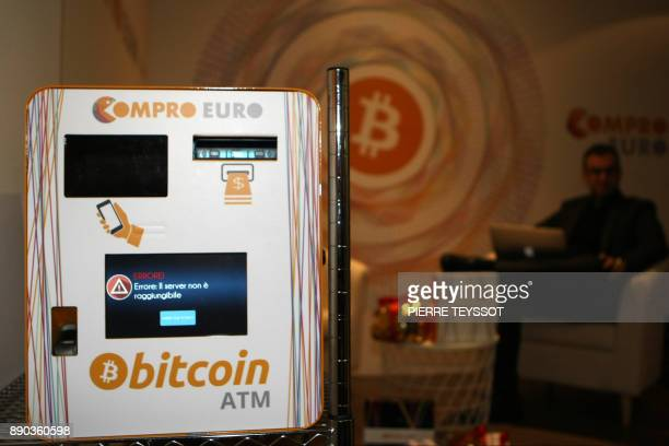 A picture shows a Bitcoin ATM in the first Italian Bitcoin crypto currency shop 'Bitcoin Compro Euro' on December 11 2017 in Rovereto northern Italy...