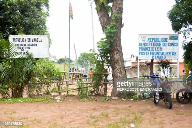 A picture shows a border post in the Congolese town of Kamako on October 12 as Congolese migrants who were living in Angola return to their country...