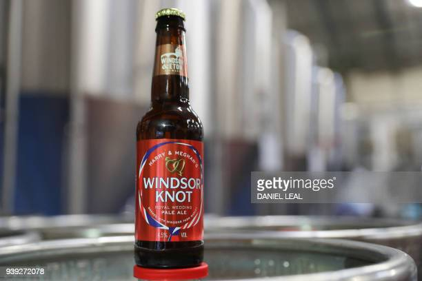 A picture shows a bottle of the new Harry Meghan's Windsor Knot ale a limited edition craft beer brewed to mark the royal wedding of Prince Harry and...