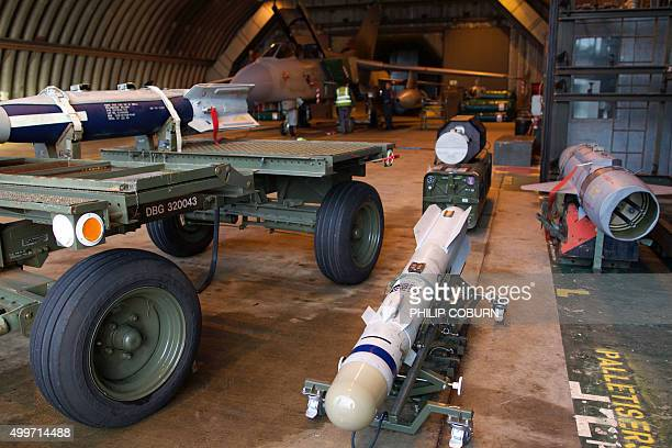 A picture shows a Brimstone missile a rocketpropelled radarguided airlaunched ground attack weapon designed to be carried by the Tornado GR4 and...