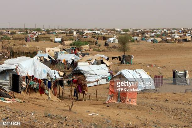A picture shows a camp for internally displaced persons who fled the fighting between the Saudiled coalition and Shiite Huthi rebels in the area of...