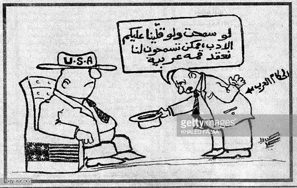 Picture shows a cartoon published 07 October 2000 in the Yemeni weekly AlUsbu'criticizing the Arab leaders' submission to the United States in their...