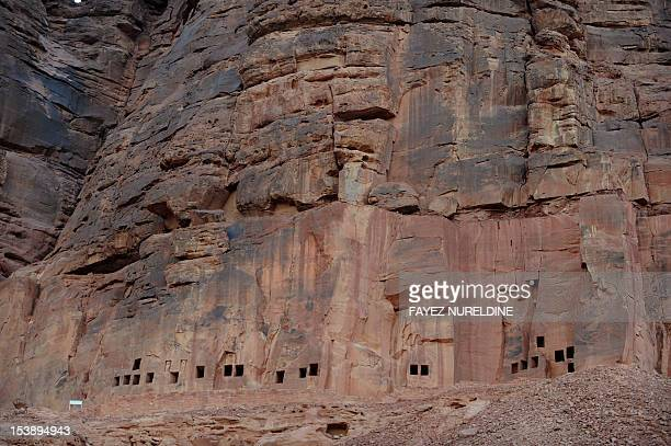A picture shows a carved rosecoloured sandstone mountain in the Nabataean archaeological site of alHijr near the northwestern town of alUla Saudi...