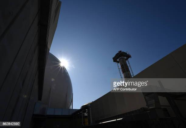 Picture shows a chimney at the Garigliano Nuclear Power Plant located at the outskirts of Sessa Aurunca, 160km southern Rome, on October 17, 2017....