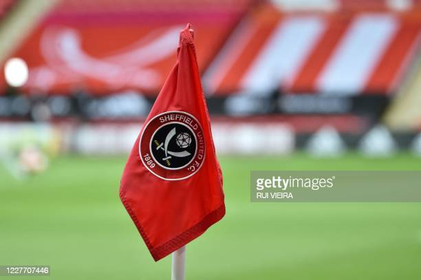 Picture shows a corner flag with a Sheffield United logo prior to the English Premier League football match between Sheffield United and Everton at...
