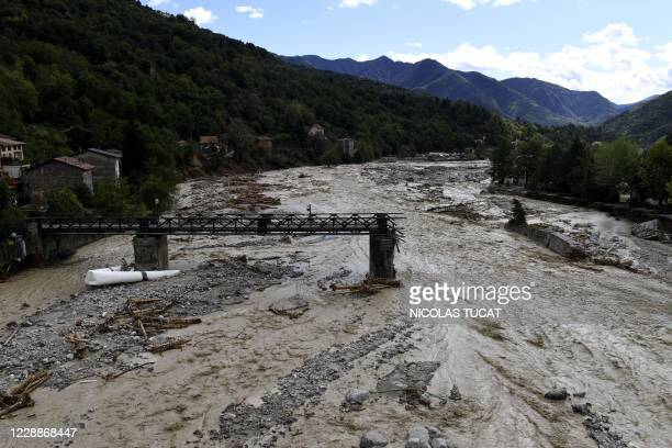 Picture shows a damaged bridge on the Vesubie river in Roquebilliere, southeastern France, on October 3, 2020 after heavy rains and floodings hit the...