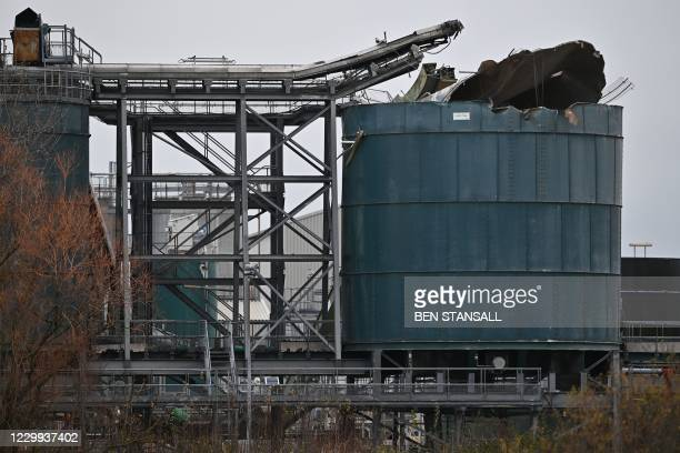 Picture shows a damaged silo at a waste water treatment plant in Avonmouth, near Bristol in southwest England on December 4, 2020 after an explosion...