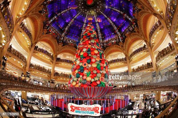 A picture shows a decoration in the Galeries Lafayette Paris department store on November 8 in Paris during the inauguration of the store's Christmas...