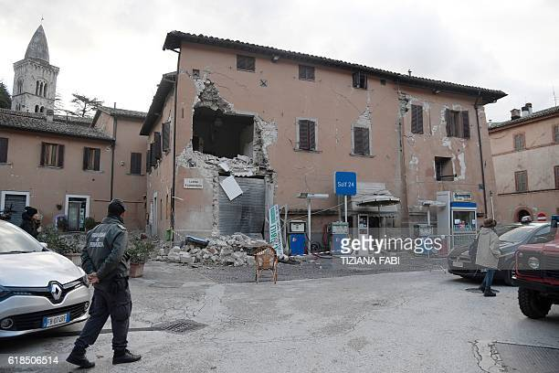 A picture shows a destroyed building in the village of Visso central Italy on October 27 2016 Twin earthquakes rocked central Italy on October 26...