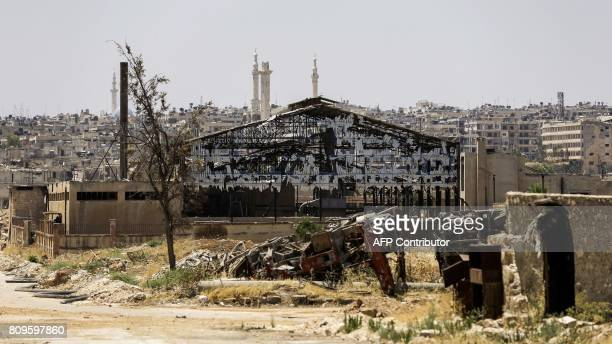 A picture shows a destroyed factory in Aleppo's northwest Layramoun industrial district on July 5 2017 / AFP PHOTO / JOSEPH EID