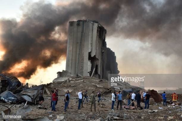 Picture shows a destroyed silo at the scene of an explosion at the port in the Lebanese capital Beirut on August 4, 2020. - Two huge explosion rocked...