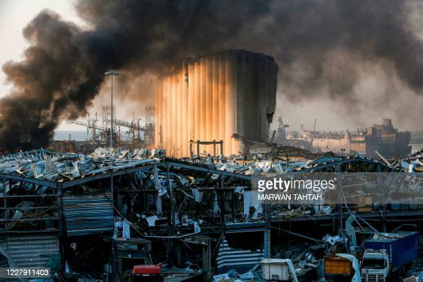 TOPSHOT A picture shows a destroyed silo at the scene of an explosion at the port in the Lebanese capital Beirut on August 4 2020 Two huge explosion...