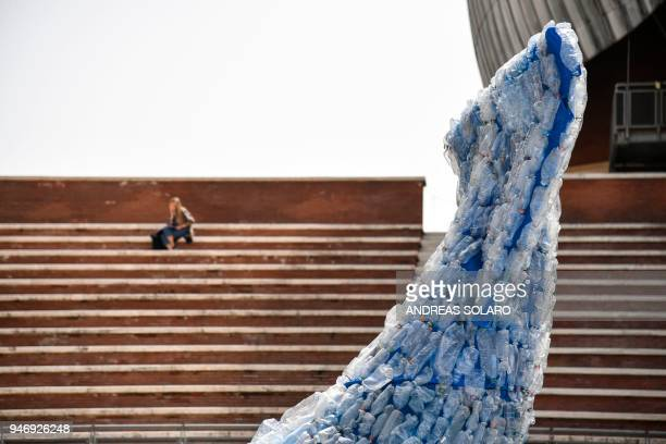 A picture shows a detail of 'Plasticus' a 10metre installation depicting a whale created by 'Sky Ocean RescueA Sea to Save' and made up of 250 kg of...