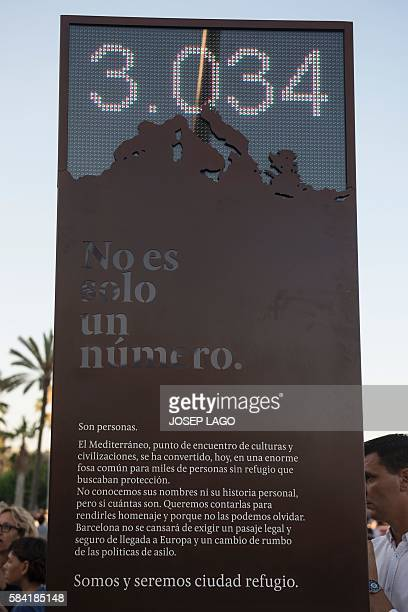 Picture shows a digital billboard that counts the number of refugees who have died in the Mediterranean sea named 'the shame counter' during its...