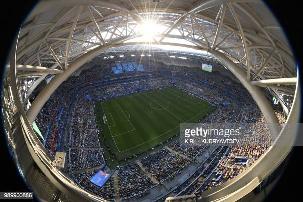 TOPSHOT Picture shows a 'fisheye' general view of the Samara Arena during the Russia 2018 World Cup round of 16 football match between Brazil and...