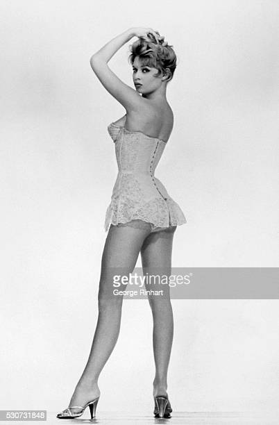 Picture shows a full length photo of adctress Brigitte Bardot wearing lingerie Undated photo circa 1960s BPA2# 5090
