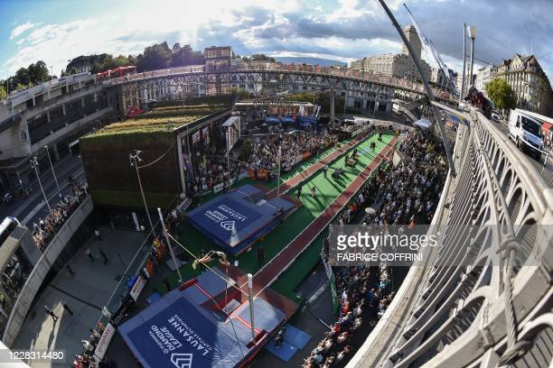 Picture shows a general view as Poland's Pawel Wojciechowski performs during a pole vaulting exhibition street event of the Diamond League athletics...