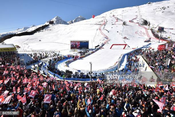 A picture shows a general view before the second run of the women's slalom race at the 2017 FIS Alpine World Ski Championships in St Moritz on...