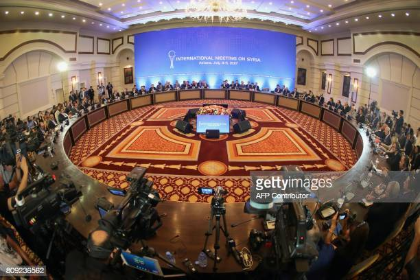 A picture shows a general view during a fifth round of Syria peace talks on July 5 in Astana Powerbrokers Russia Iran and Turkey struggled on July 5...