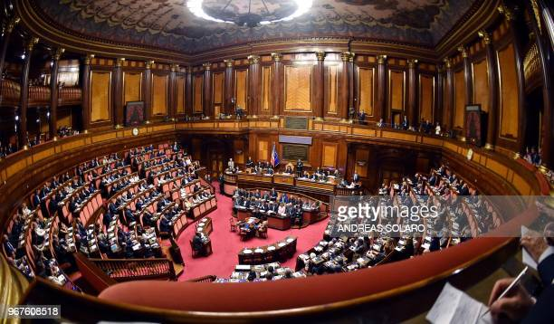 A picture shows a general view during an address by Italy's newly swornin Prime Minister Giuseppe Conte to senators as part of a debate ahead of a...