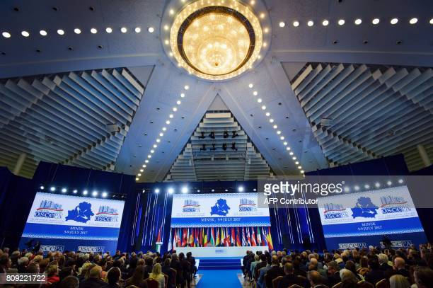 A picture shows a general view during the annual session of the Organization for Security and Cooperation in Europe Parliamentary Assembly in Minsk...