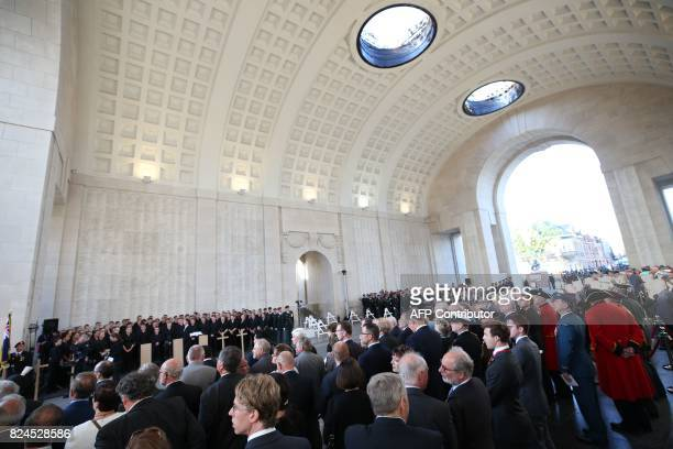 A picture shows a general view during the Last Post ceremony at the Commonwealth War Graves Commission Ypres Memorial at the Menin Gate in Ypres on...