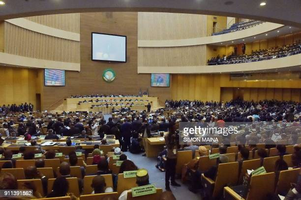 A picture shows a general view during the opening of the Ordinary Session of the Assembly of Heads of State and Government during the 30th annual...