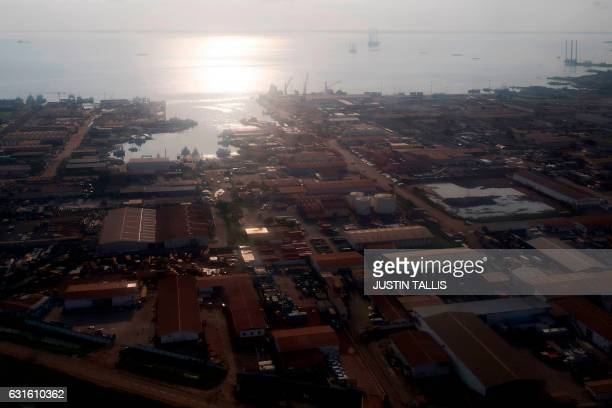 A picture shows a general view from the air of PortGentil Gabon on January 13 2017