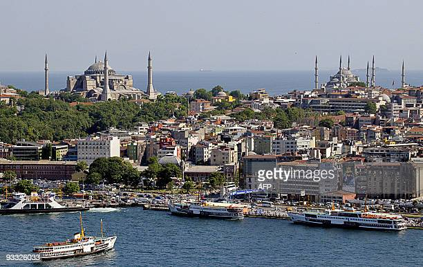 Picture shows a general view of historical peninsula and Hagia Sophia a sixthcentury Byzantine church converted to a mosque under the Ottoman empire...