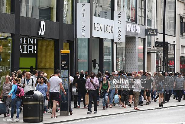 A picture shows a general view of retail shops on Oxford Street in central London on August 18 2016 Retail sales in Britain a key driver of the...