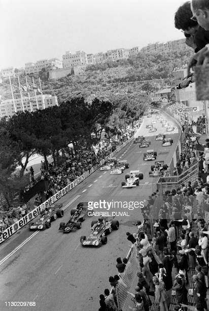 Picture shows a general view of the 31th Monaco Formula One Grand Prix's departure on June 3 1973