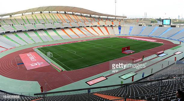 A picture shows a general view of the Ataturk Olympic Stadium during a visit of the International Olympic Committee evaluation commission for the...