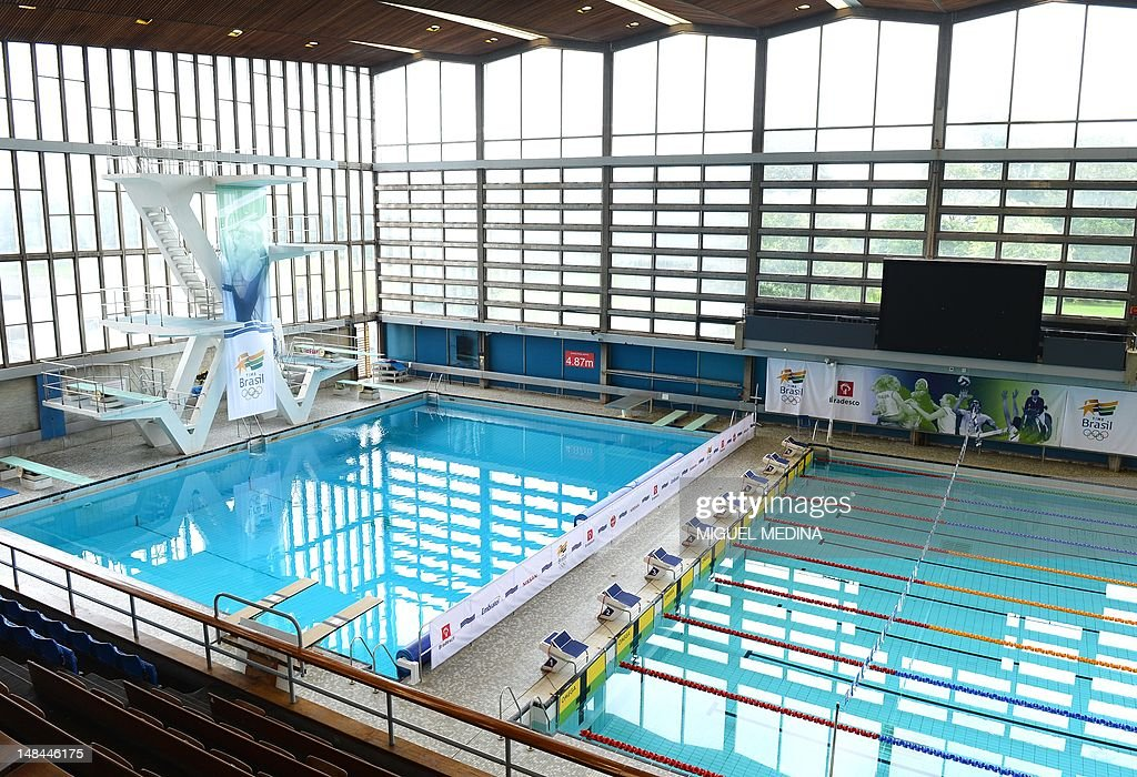 A Picture Shows A General View Of The Diving Pool And Swimming Pool Inside  The Crystal