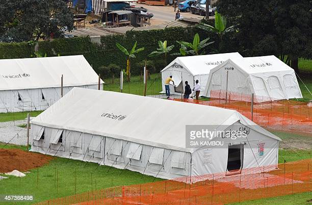 A picture shows a general view of the Ebola treatment unit being preventively set to host potential Ebola patients at the University Hospital of...