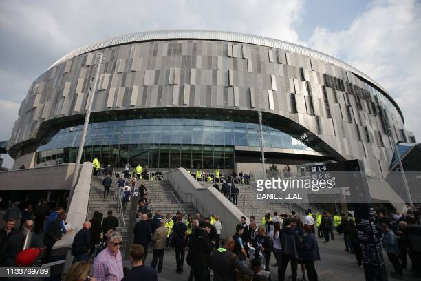 A picture shows a general view of the exterior of the new Tottenham Hotspur Stadium ahead of the Legends football match between Spurs Legends and...