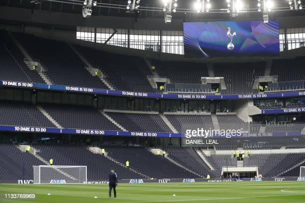 A picture shows a general view of the interior of the new Tottenham Hotspur Stadium ahead of the Legends football match between Spurs Legends and...
