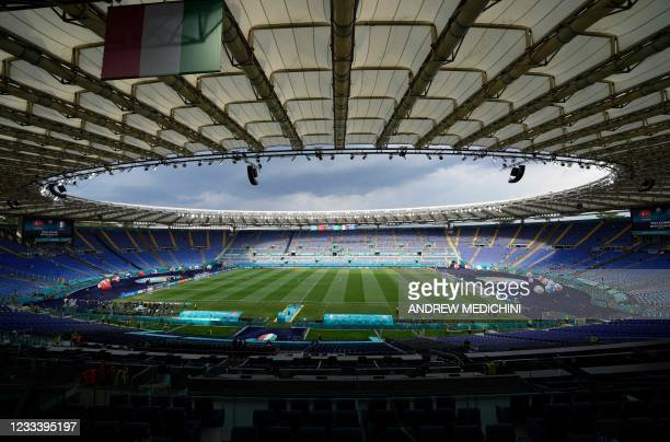 Picture shows a general view of the Olympic Stadium before the UEFA EURO 2020 Group A football match between Turkey and Italy in Rome on June 11,...