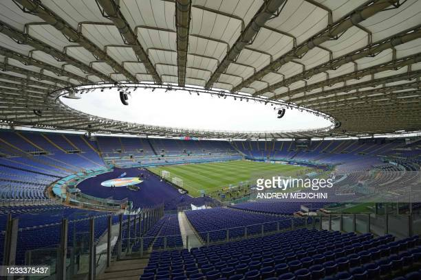Picture shows a general view of the Olympic Stadium in Rome on June 10, 2021 on the eve of the UEFA EURO 2020 Group A football match between Turkey...