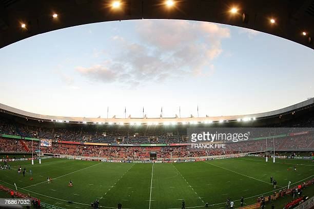 A picture shows a general view of the Parc des Princes stadium in Paris as players train prior to the rugby union World Cup group C match Italy vs...