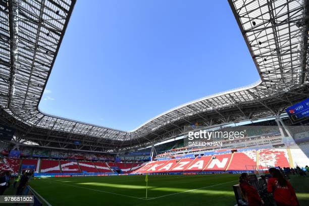 A picture shows a general view of the stadium before an Iran team training session at the Kazan Arena on June 19 on the eve of the Russia 2018 World...