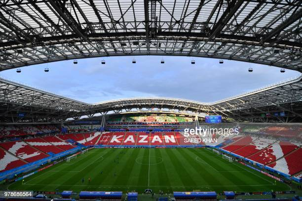 A picture shows a general view of the stadium during a Spain team training session at the Kazan Arena on June 19 on the eve of the Russia 2018 World...