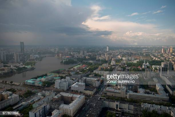 A picture shows a general view of Yekaterinburg on June 18 during the Russia 2018 World Cup football tournament