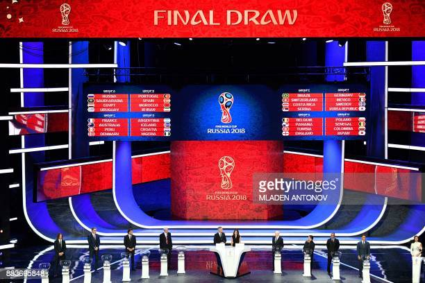 TOPSHOT A picture shows a general view with the groups displayed on screens after the Final Draw for the 2018 FIFA World Cup football tournament at...
