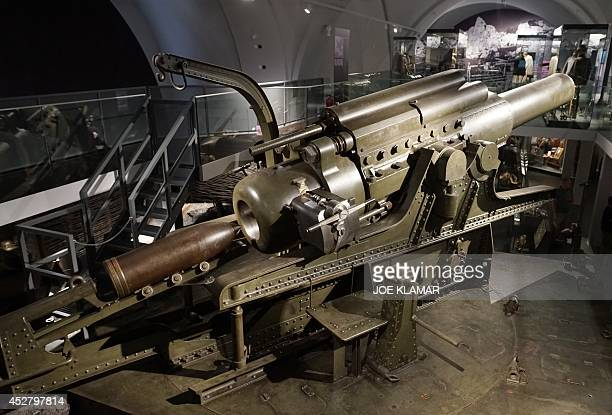 A picture shows a gigantic canon 38 centimeters caliber Howitzer from 1916 weighting over 80 tons taken on July 01 2014 on display at Vienna's...